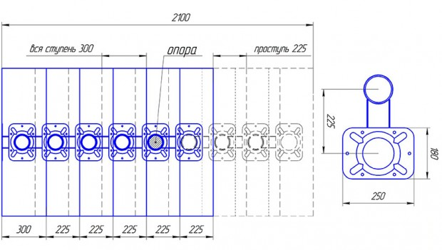 Схема с размерами ступеней и модулей