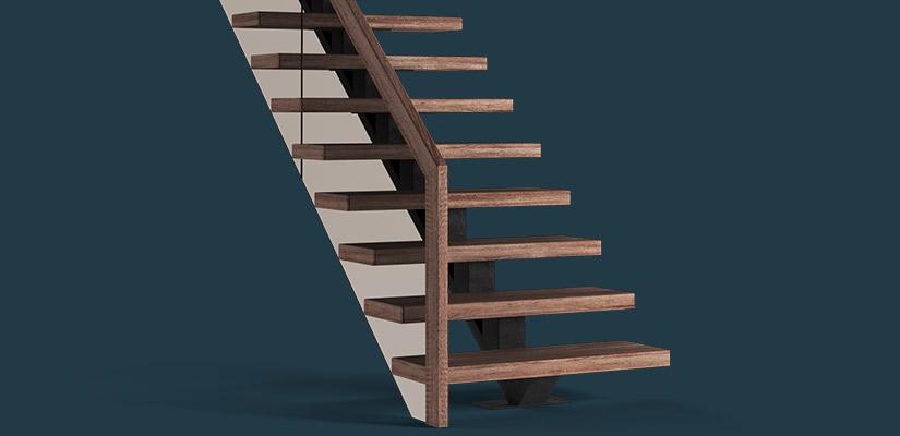Сварной центральный каркас из трубы 120x120 для лестницы