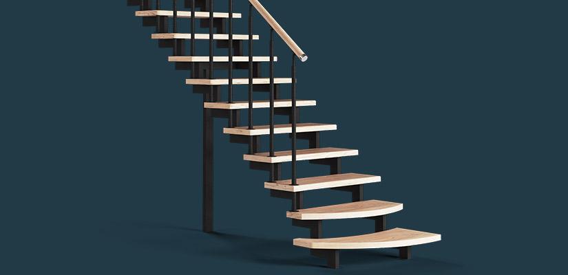 Металлический каркас из трубы 40x80 для лестницы