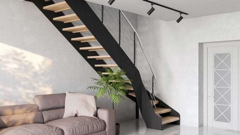 Лестница на металлической тетиве