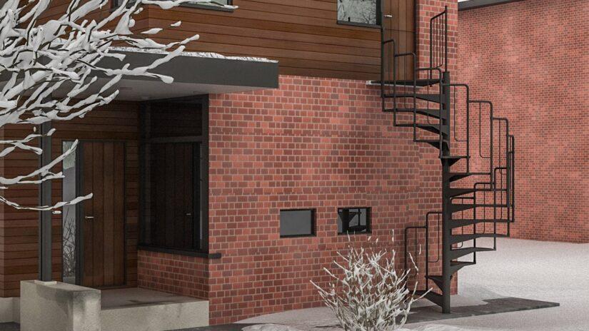винтовая металлическая лестница на улице возле дома